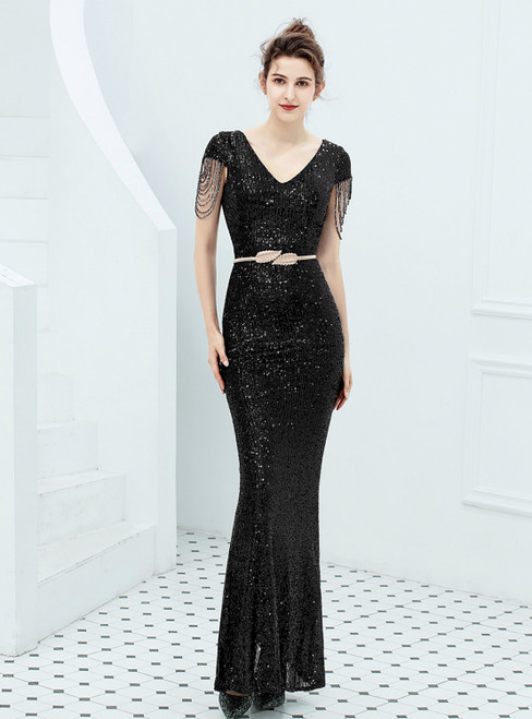 In Stock:Ship in 48 Hours Black Mermaid Sequins Beading V-neck Prom Dress
