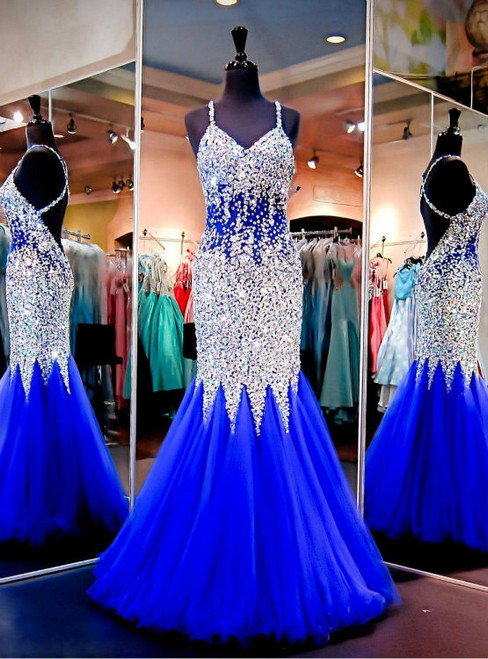 Royal Blue Long Prom Dresses Mermaid Sexy Backless Party Dresses