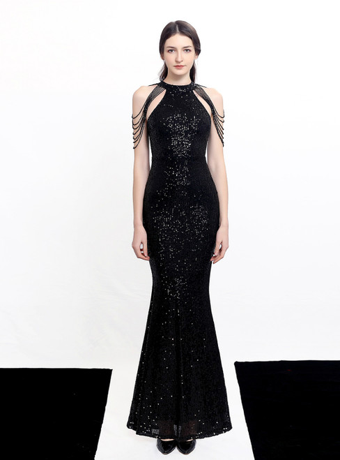 In Stock:Ship in 48 Hours Black Mermaid Sequins Halter Beading Prom Dress
