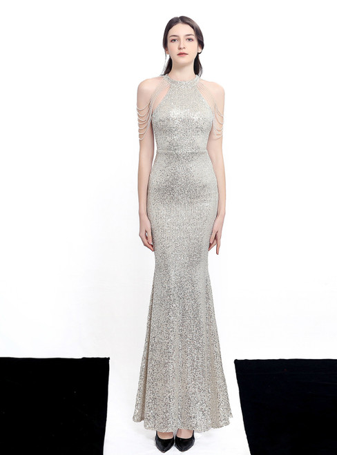 In Stock:Ship in 48 Hours Silver Mermaid Sequins Halter Beading Prom Dress