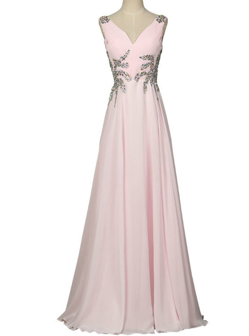 Pink Prom Dresses Long Design Sexy V Neck Sleeveless Evening Prom Gown