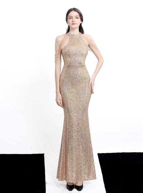 In Stock:Ship in 48 Hours Gold Mermaid Sequins Halter Beading Prom Dress