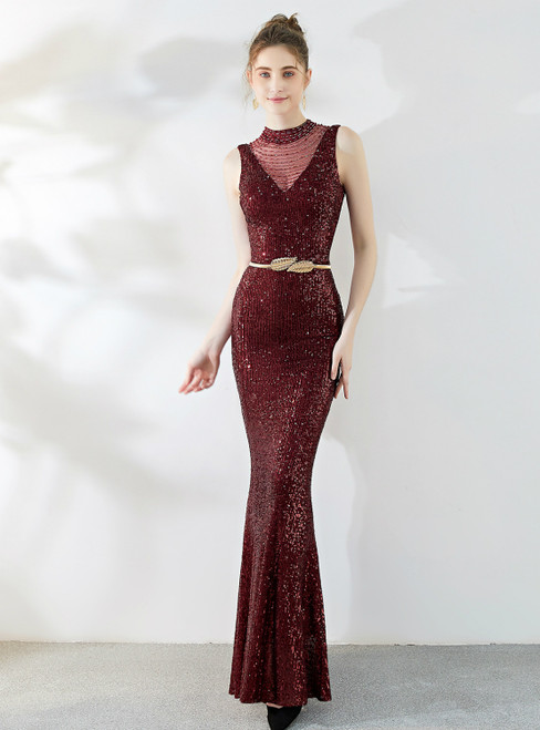In Stock:Ship in 48 Hours Burgundy Mermaid Sequins Beading Backless Prom Dress