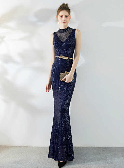 In Stock:Ship in 48 Hours Navy Blue Mermaid Sequins Beading Backless Prom Dress