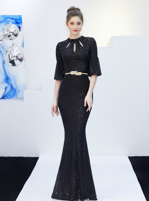 In Stock:Ship in 48 Hours Black Mermaid Sequins Half Sleeve Prom Dress