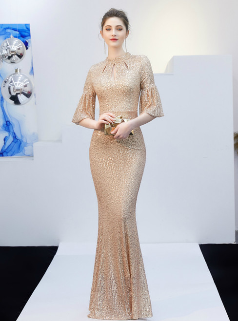 In Stock:Ship in 48 Hours Gold Mermaid Sequins Half Sleeve Prom Dress