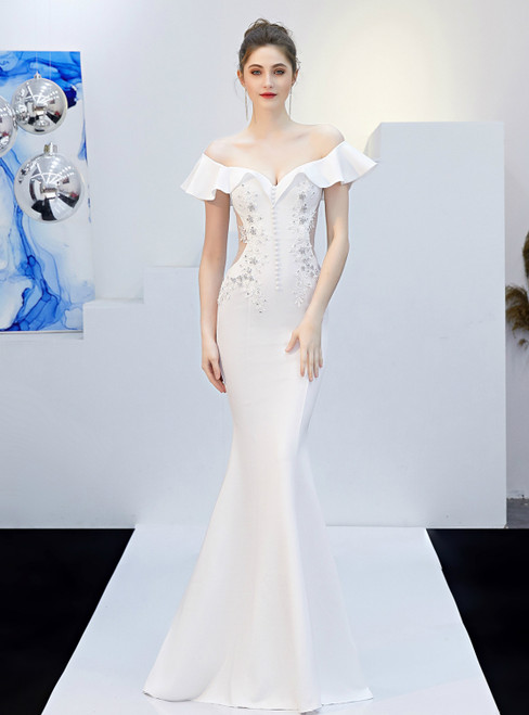 In Stock:Ship in 48 Hours White Mermaid Off the Shoulder Appliques Prom Dress