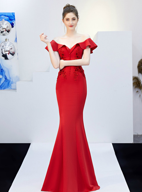 In Stock:Ship in 48 Hours Red Mermaid Off the Shoulder Appliques Prom Dress