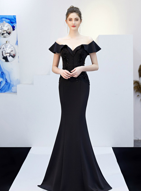 In Stock:Ship in 48 Hours Black Mermaid Off the Shoulder Appliques Prom Dress