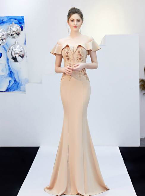 In Stock:Ship in 48 Hours Apricot Mermaid Off the Shoulder Appliques Prom Dress