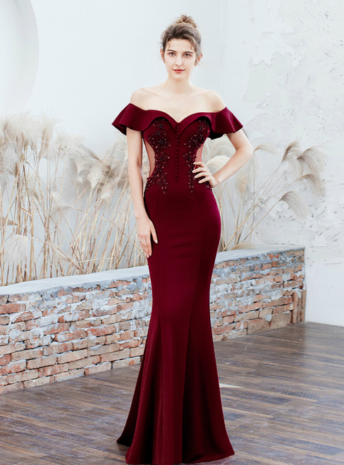 In Stock:Ship in 48 Hours Burgundy Mermaid Off the Shoulder Appliques Prom Dress