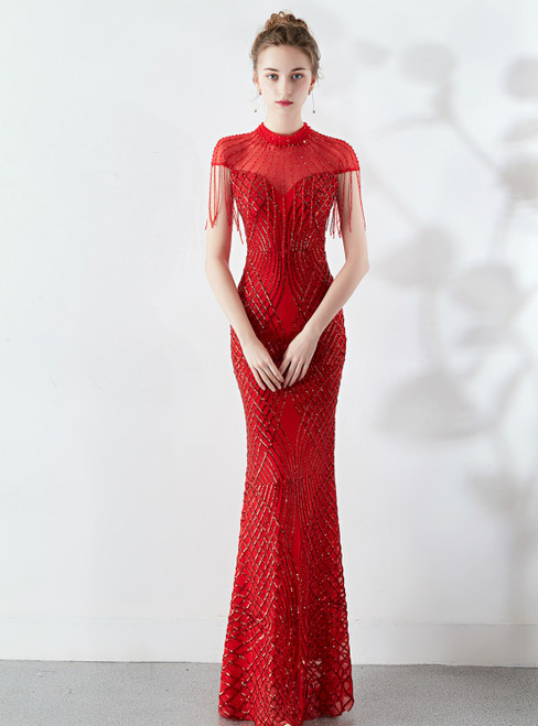 In Stock:Ship in 48 Hours Red Mermaid Sequins Cap Sleeve Prom Dress