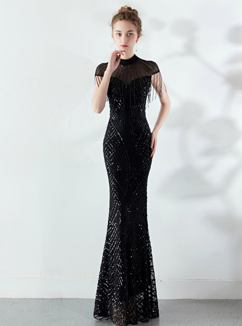 In Stock:Ship in 48 Hours Sexy Black Mermaid Sequins Cap Sleeve Prom Dress