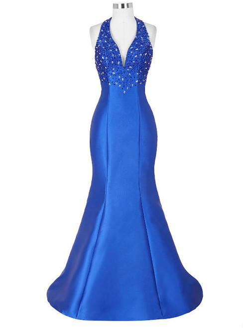 Royal Blue Prom Dress Formal Celebrity Dresses Red Carpet Dress New Arrival Halter Satin
