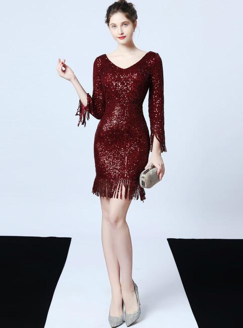 In Stock:Ship in 48 Hours Burgundy Sequins V-neck Long Sleeve Short Prom Dress
