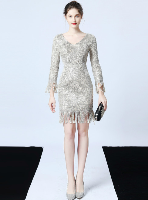 In Stock:Ship in 48 Hours Silver Sequins V-neck Long Sleeve Short Prom Dress