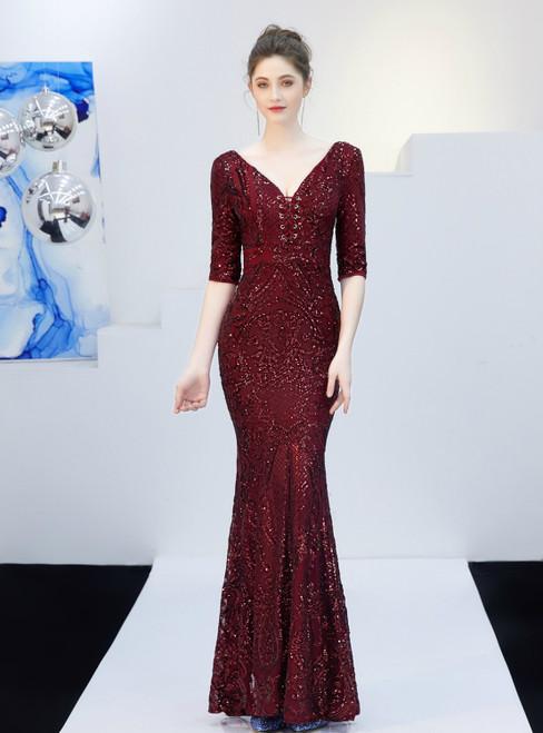 In Stock:Ship in 48 Hours Burgundy V-neck Sequins Short Sleeve Prom Dress
