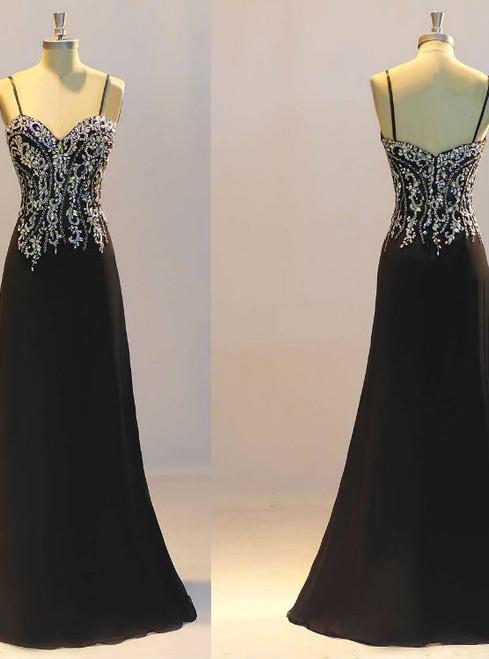 New Prom Dresses  Black Prom Dresses Sheath Prom Dresses Crystal Evening Dresses