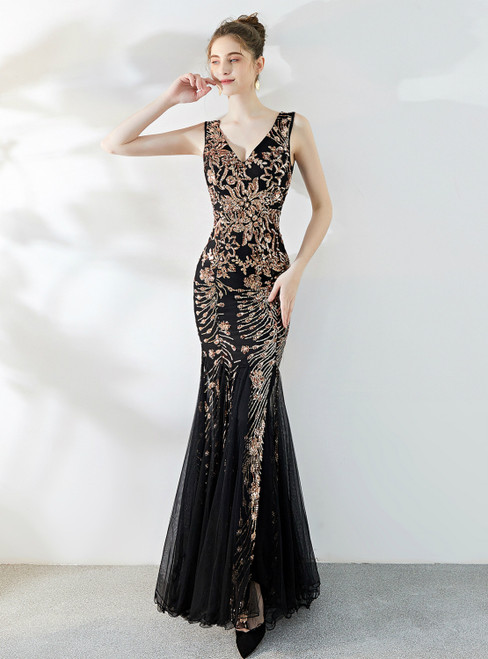 In Stock:Ship in 48 Hours Black Gold Mermaid Sequins Tulle V-neck Prom Dress