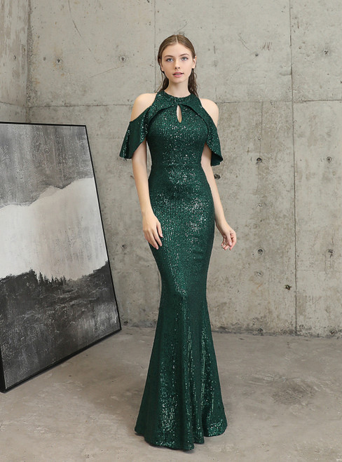 In Stock:Ship in 48 Hours Cheap Green Sequins Mermaid Prom Dress