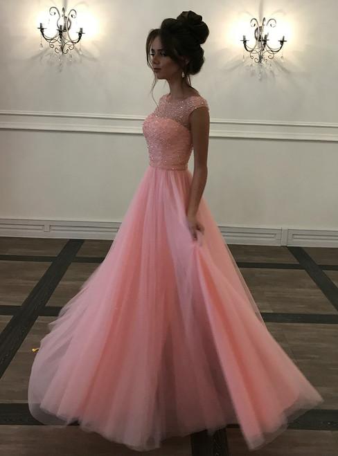 Long Beaded Sleeveless Illusion Prom Dress