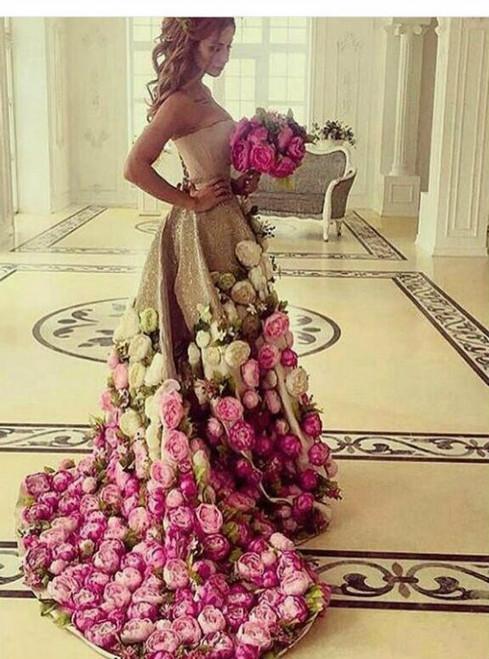 Saudi Arabia Evening Gowns Dresses Floor Length Strapless Neckline Sequins Hand