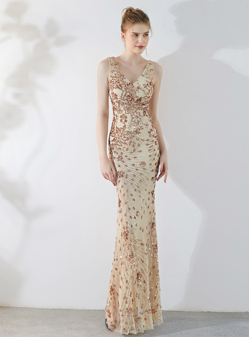 In Stock:Ship in 48 Hours Gold Sequins Mermaid V-neck Prom Dress