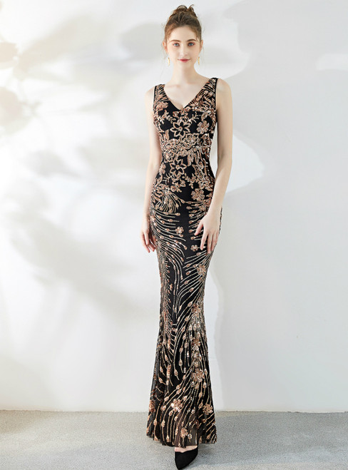 In Stock:Ship in 48 Hours Sexy Black Gold Sequins Mermaid V-neck Prom Dress
