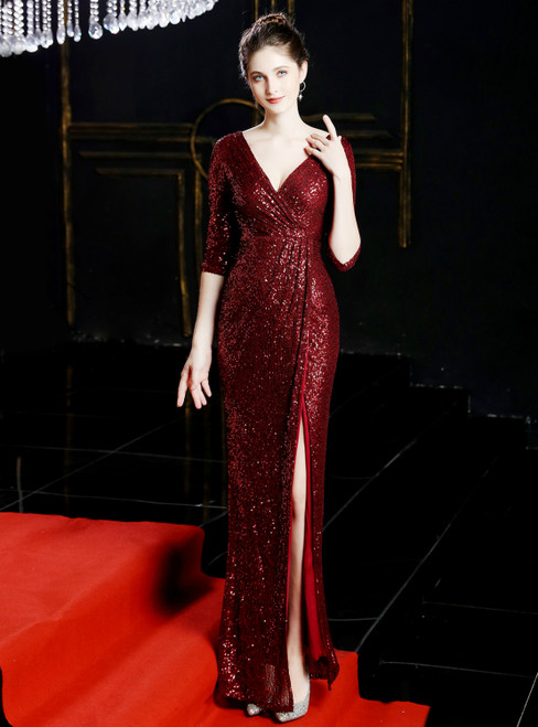 In Stock:Ship in 48 Hours Burgundy Sequins V-neck 3/4 Sleeve Prom Dress With Split