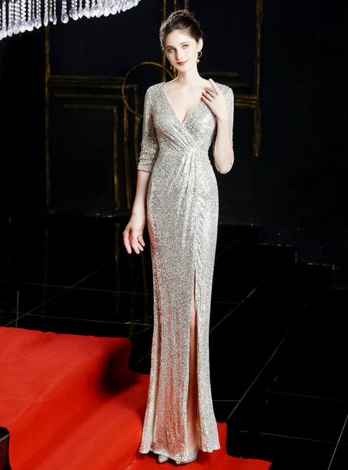 In Stock:Ship in 48 Hours Silver Sequins V-neck 3/4 Sleeve Prom Dress With Split