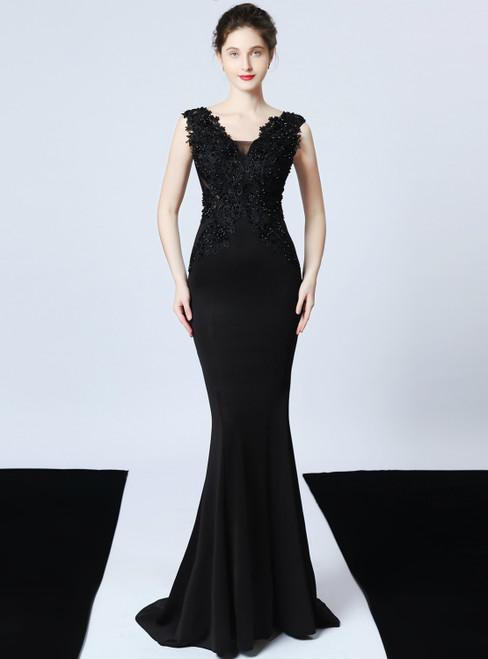 In Stock:Ship in 48 Hours Black V-neck Mermaid Satin Appliques Beading Prom Dress
