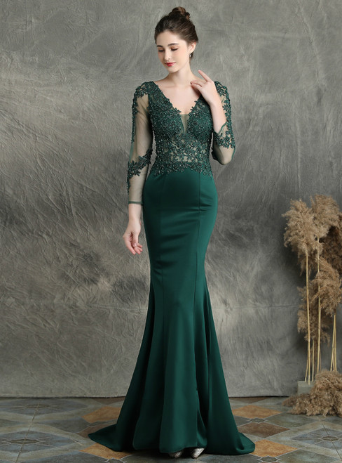 In Stock:Ship in 48 Hours Green Mermaid Satin Long Sleeve Appliques Beading Prom Dress
