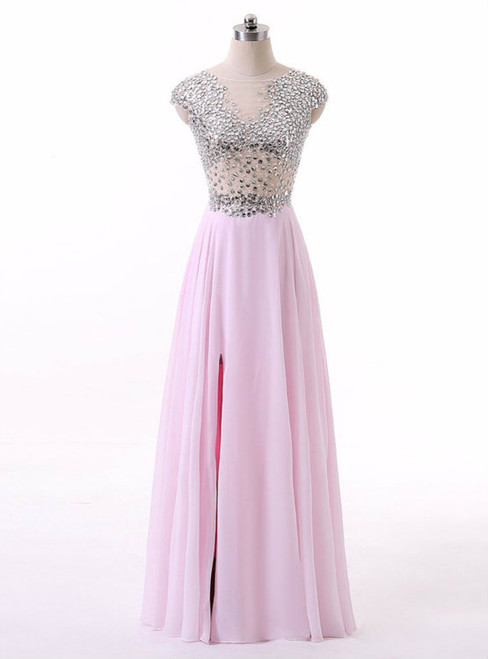 New Arrival Pink Chiffon A Line Boat Neck Cap Sleeves Long Prom Dresses 2017