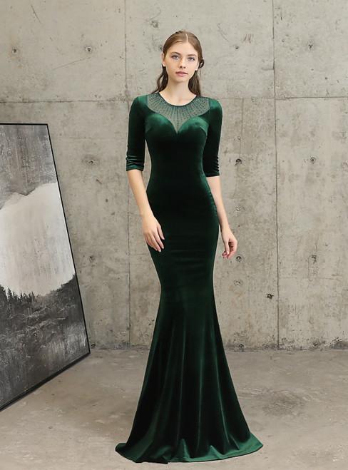 In Stock:Ship in 48 Hours Green Mermaid Velvet Half Sleeve Beading Prom Dress