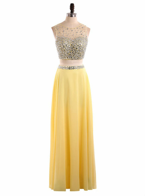 cheap best quality super cheap Custom Sexy Yellow Sequins Beaded 2 Piece Prom Dresses Scoop Long