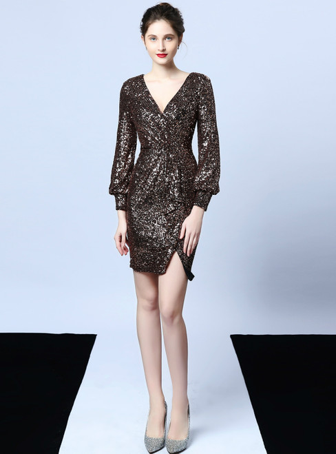 In Stock:Ship in 48 Hours Coffee Gold Sequins V-neck Long Sleeve Prom Dress