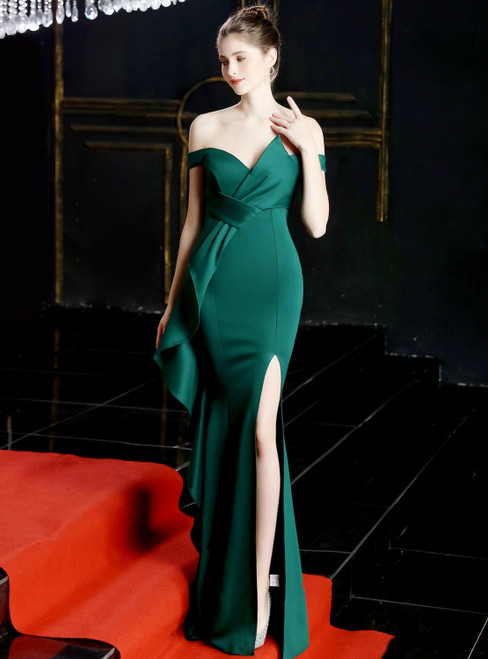 In Stock:Ship in 48 Hours Sexy Green Satin Off the Shoulder Prom Dress