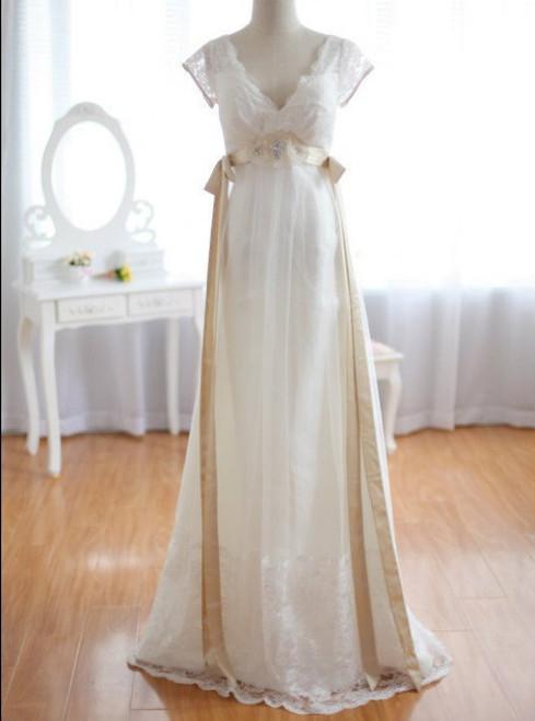 A-Line White Lace Deep V-neck Backless High Waist Wedding Dress