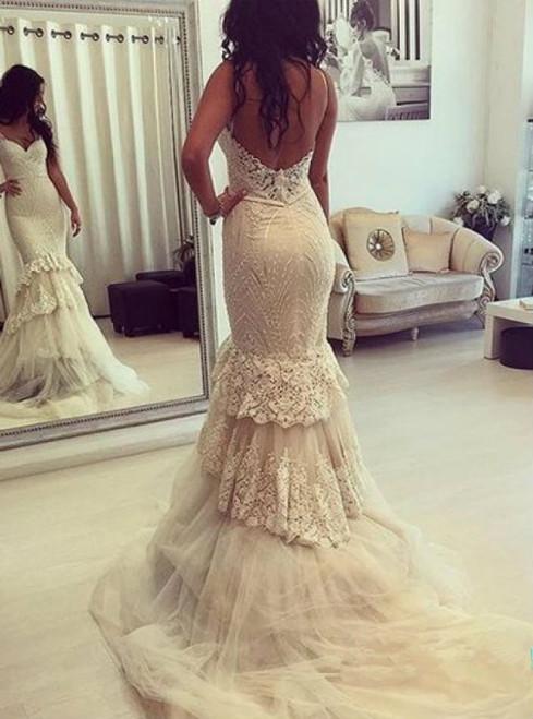 Backless Prom Dress Lace Prom Dress Mermaid Prom Dress Fashion Bridal Dress
