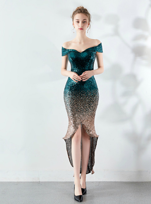 In Stock:Ship in 48 Hours Green Gold Sequins Hi Lo Prom Dress
