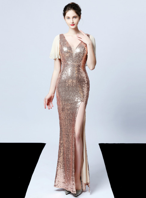 In Stock:Ship in 48 Hours Sexy Silver Mermaid V-neck Sequins Beading Prom Dress