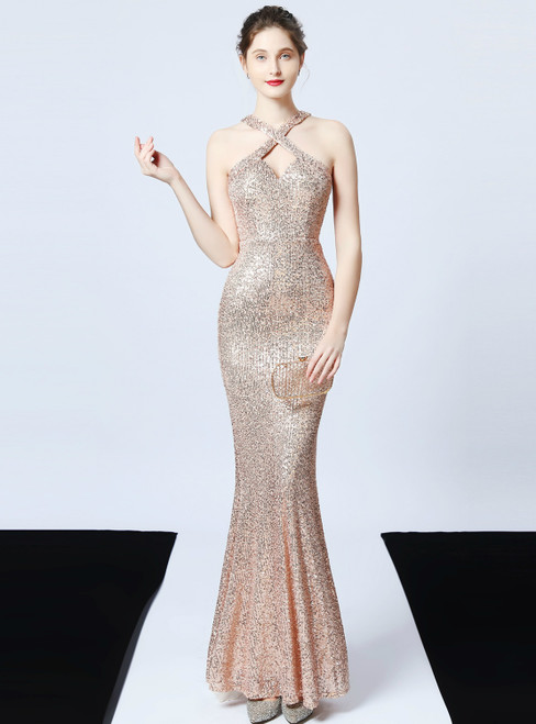 In Stock:Ship in 48 Hours Gold Mermaid Sequins Halter Prom Dress