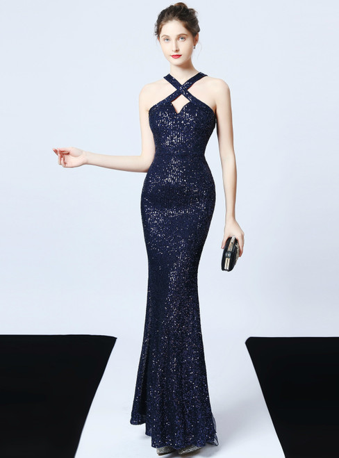 In Stock:Ship in 48 Hours Navy Blue Mermaid Sequins Halter Prom Dress