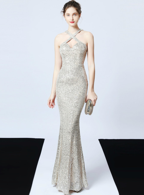 In Stock:Ship in 48 Hours Silver Mermaid Sequins Halter Prom Dress