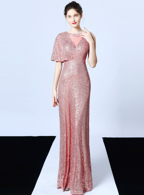 In Stock:Ship in 48 Hours A-Line Pink Sequins Long Prom Dress