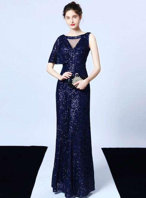 In Stock:Ship in 48 Hours A-Line Navy Blue Sequins Long Prom Dress