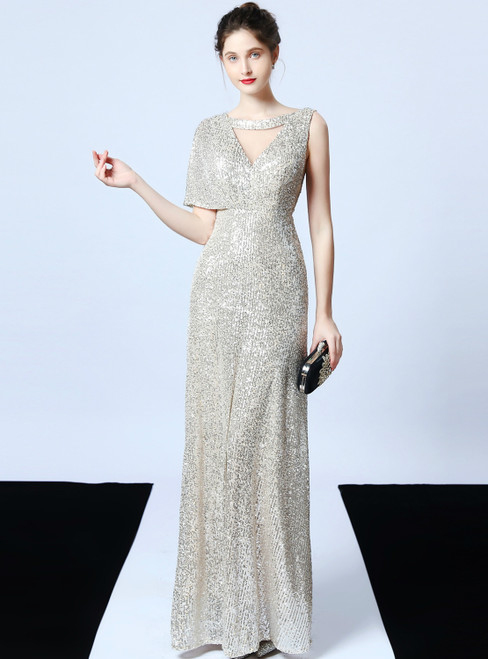 In Stock:Ship in 48 Hours A-Line Silver Sequins Long Prom Dress