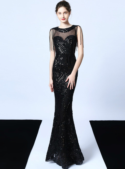 In Stock:Ship in 48 Hours Sexy Black Mermaid Sequins Beading Prom Dress