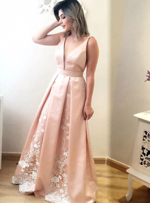 Long Deep V Neck Satin Evening Dress with Lace in the Pleated Skirt
