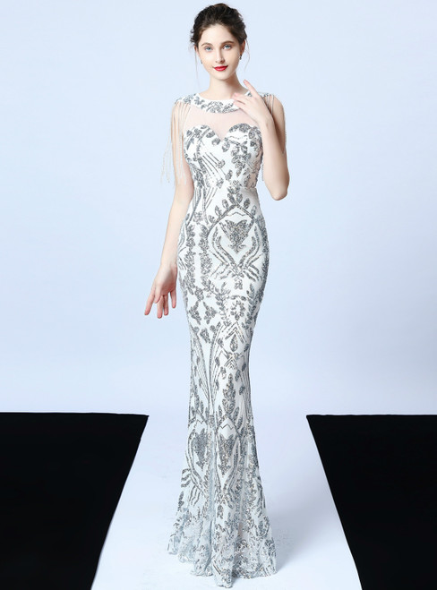 In Stock:Ship in 48 Hours Silver Mermaid Sequins Beading Formal Prom Dress